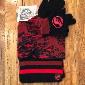 NWT - Jurassic World Hat Glove Scarf Set
